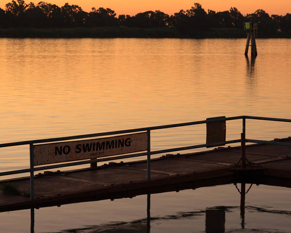 California Poster featuring the photograph No Swimming Rio Vista Ca by Troy Montemayor
