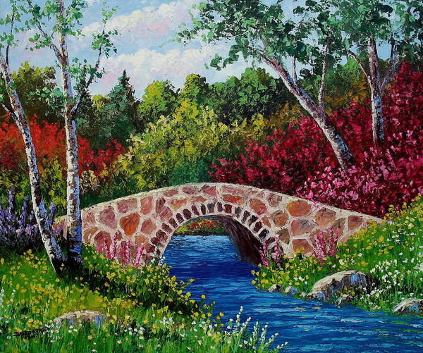 Landscape Poster featuring the painting The Little Stone Bridge by David G Paul