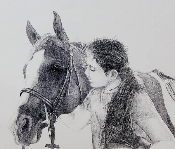 Pets Horses Horseback Riding Children Poster featuring the painting Best Friends by Tony Ruggiero