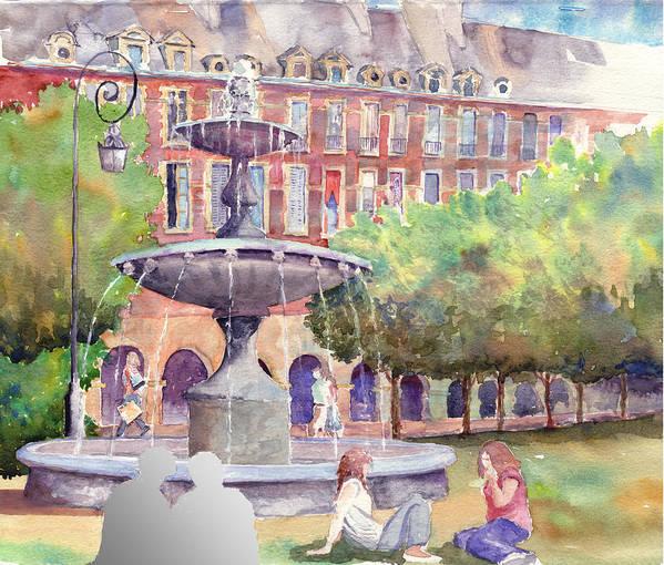 Urban Landscape Poster featuring the painting Place Des Vosges by John Ressler