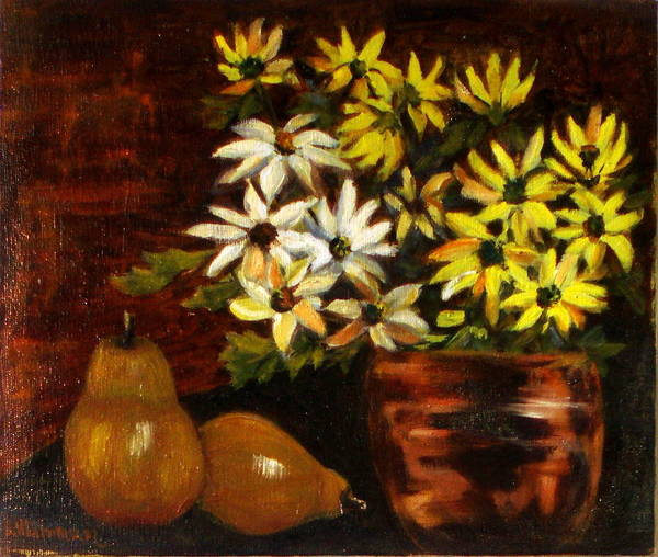 Daisies Poster featuring the painting Daisies And Pears by Lia Marsman