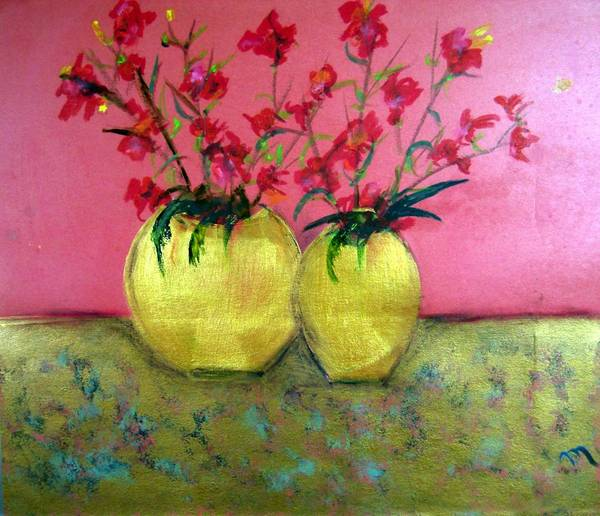 Decorative Poster featuring the painting Golden Vases - Red Blooms by Michela Akers