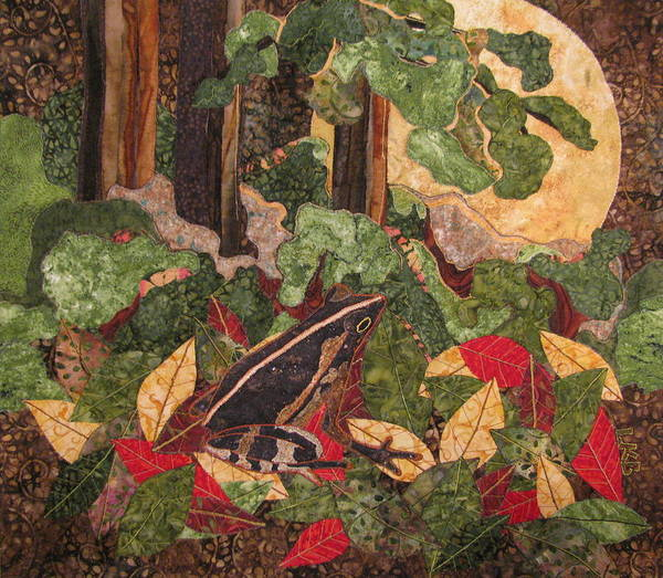 Nature Tapestries - Textiles Poster featuring the tapestry - textile Greeting The Moon by Lynda K Boardman