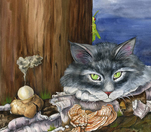 Cats Poster featuring the painting Mona With The Mushrooms by Mindy Lighthipe
