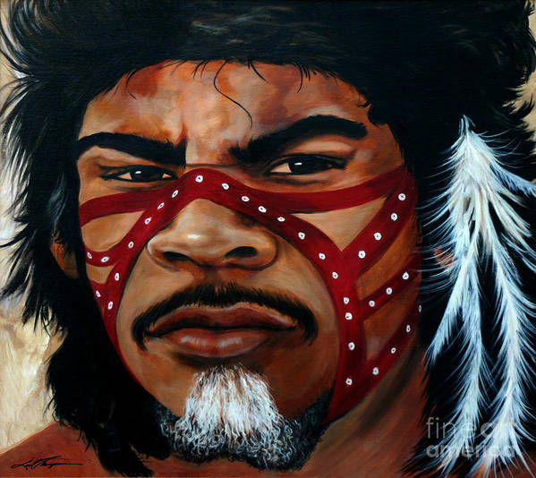 People Of Indigenous Cultures Poster featuring the painting Aborigine Hunter by Joel Thompson