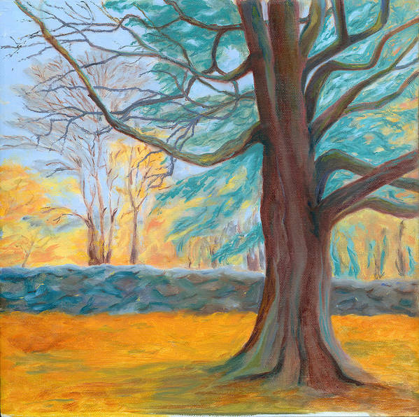 Landscape Poster featuring the painting Autumn On The Preserve by Paula Emery