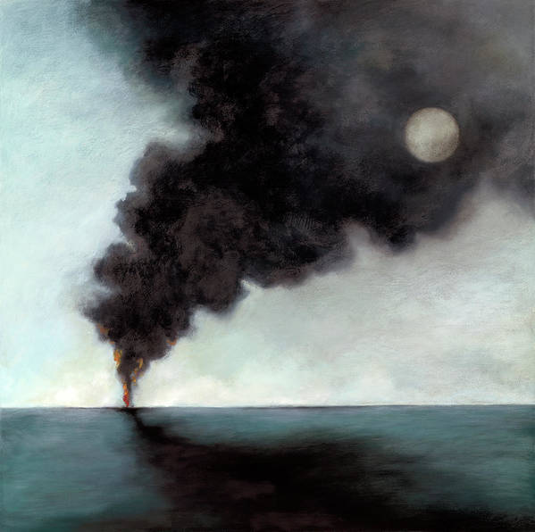Smoke Poster featuring the painting Oil Spill 3 by Katherine DuBose Fuerst