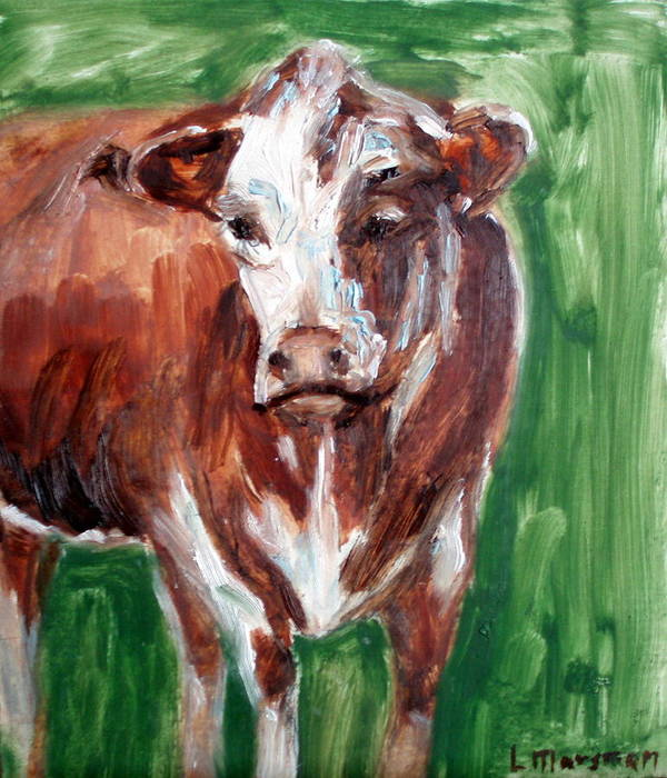 Animals Poster featuring the painting Alabama Cow by Lia Marsman