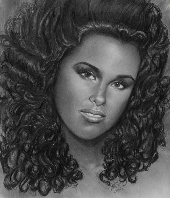 Poster featuring the drawing Alicia Keys by Carliss Mora
