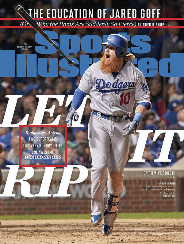 Magazine Cover Poster featuring the photograph Let It Rip 2017 World Series Preview Issue Sports Illustrated Cover by Sports Illustrated