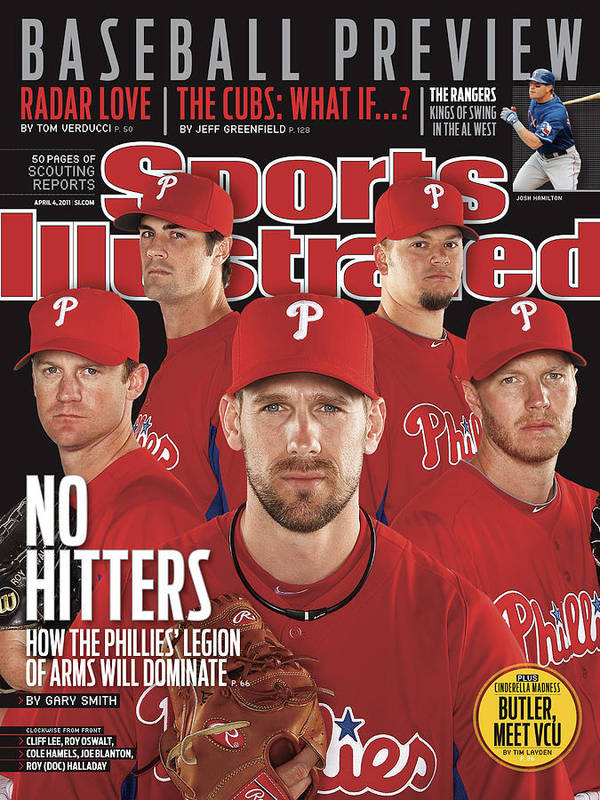 Clearwater Poster featuring the photograph Philladelphia Phillies Starting Five, 2011 Mlb Baseball Sports Illustrated Cover by Sports Illustrated