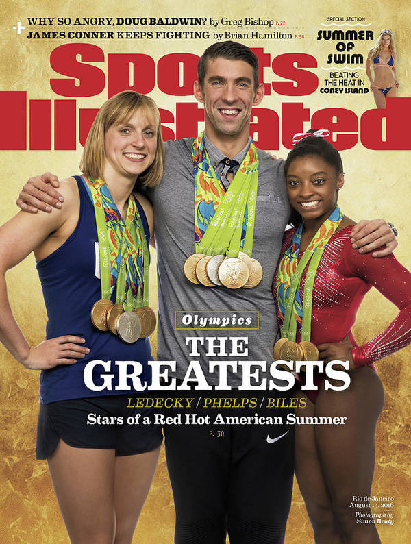Magazine Cover Poster featuring the photograph The Greatests Ledecky Phelps Biles Sports Illustrated Cover by Sports Illustrated