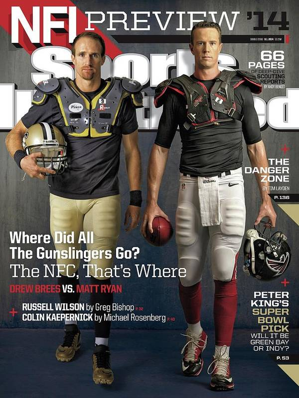 Magazine Cover Poster featuring the photograph Nfc Gunslingers 2014 Nfl Football Preview Issue Sports Illustrated Cover by Sports Illustrated