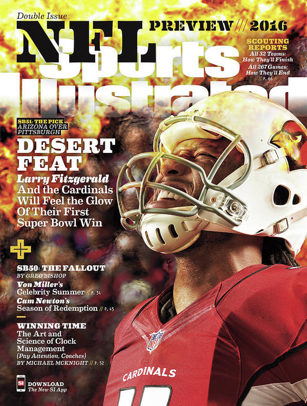 Magazine Cover Poster featuring the photograph Arizona Cardinals Larry Fitzgerald, 2016 Nfl Football Sports Illustrated Cover by Sports Illustrated