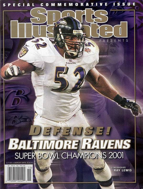 Tampa Poster featuring the photograph Baltimore Ravens Ray Lewis, Super Bowl Xxxv Sports Illustrated Cover by Sports Illustrated