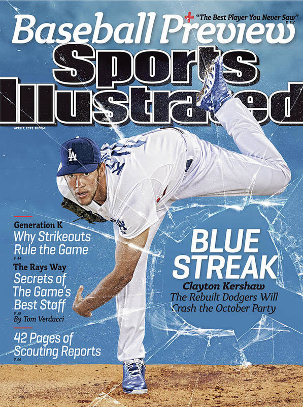 Magazine Cover Poster featuring the photograph Blue Streak, 2013 Mlb Baseball Preview Issue Sports Illustrated Cover by Sports Illustrated