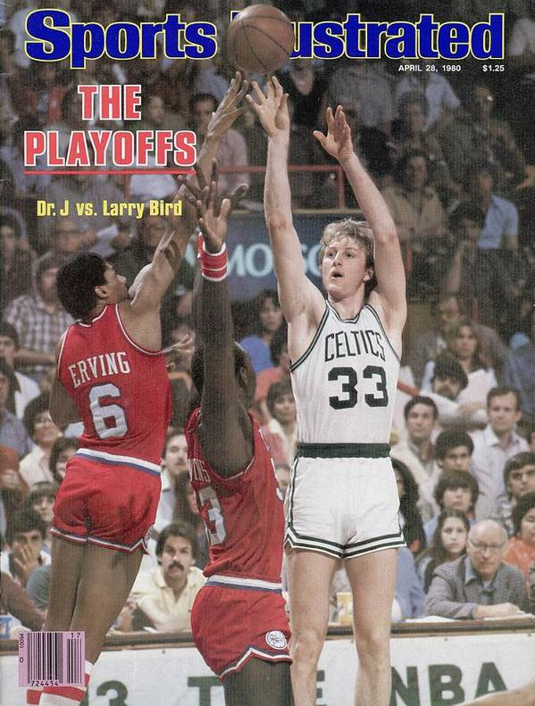 Magazine Cover Poster featuring the photograph Boston Celtics Larry Bird, 1980 Nba Eastern Conference Sports Illustrated Cover by Sports Illustrated