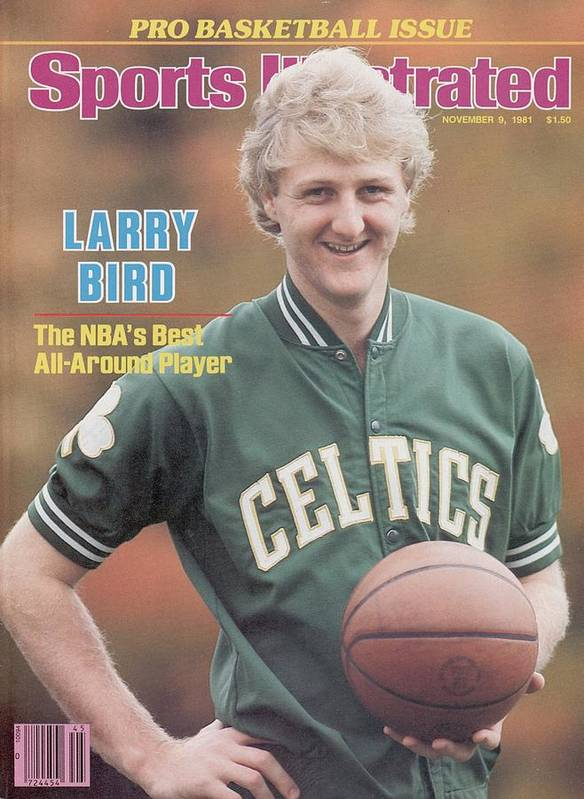 Magazine Cover Poster featuring the photograph Boston Celtics Larry Bird, 1981 Nba Preview Sports Illustrated Cover by Sports Illustrated