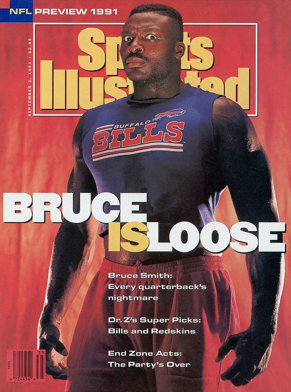 Magazine Cover Poster featuring the photograph Buffalo Bills Bruce Smith, 1991 Nfl Football Preview Sports Illustrated Cover by Sports Illustrated