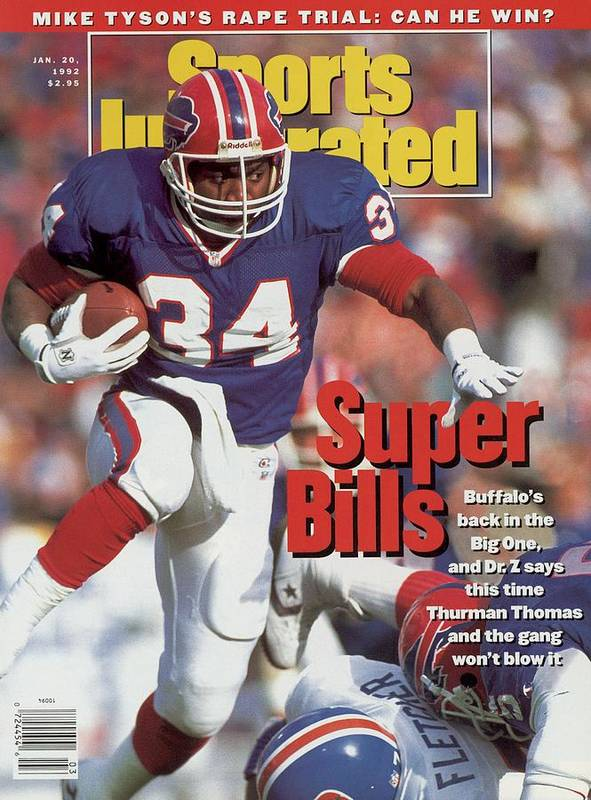 Playoffs Poster featuring the photograph Buffalo Bills Thurman Thomas, 1992 Afc Championship Sports Illustrated Cover by Sports Illustrated