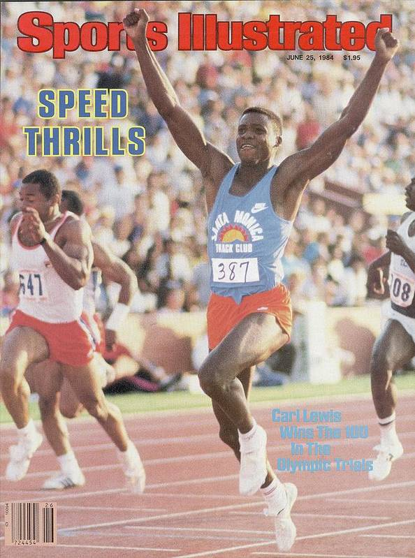 Magazine Cover Poster featuring the photograph Carl Lewis, 1984 Us Olympic Track & Field Trials Sports Illustrated Cover by Sports Illustrated