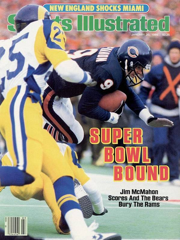 Magazine Cover Poster featuring the photograph Chicago Bears Qb Jim Mcmahon, 1986 Nfc Championship Sports Illustrated Cover by Sports Illustrated