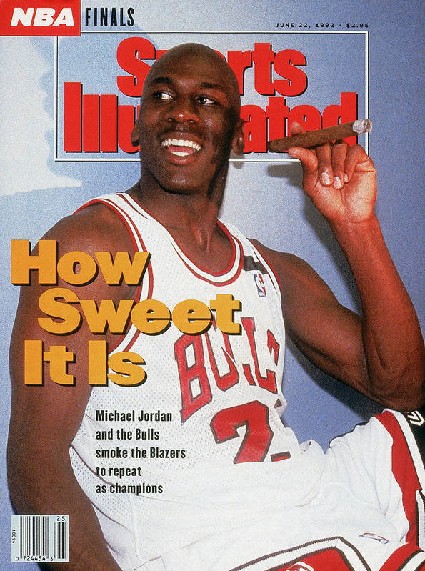 Magazine Cover Poster featuring the photograph Chicago Bulls Michael Jordan, 1992 Nba Finals Sports Illustrated Cover by Sports Illustrated