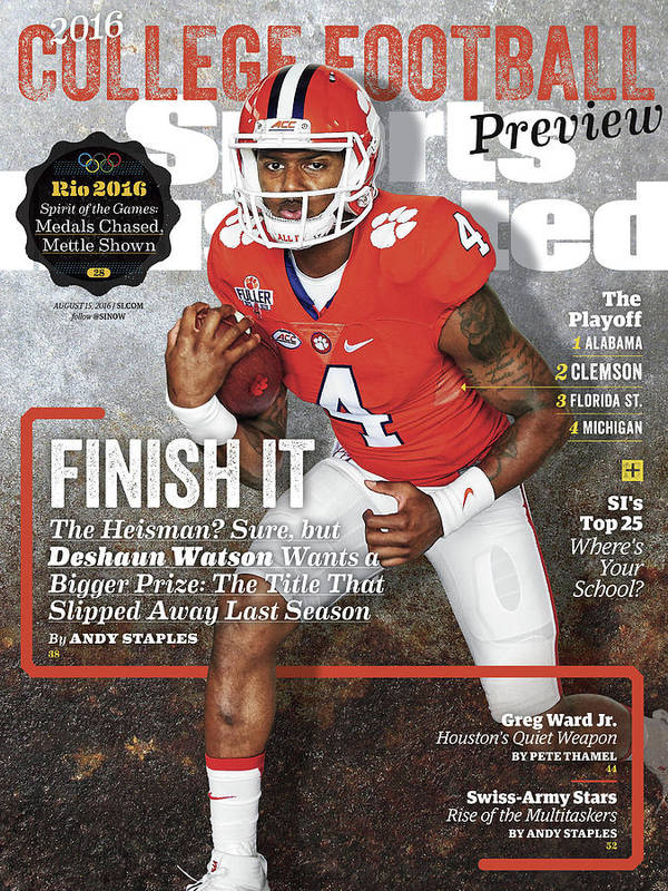 Magazine Cover Poster featuring the photograph Clemson University Deshaun Watson, 2016 College Football Sports Illustrated Cover by Sports Illustrated
