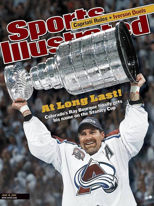 Magazine Cover Poster featuring the photograph Colorado Avalanche Ray Bourque, 2001 Nhl Stanley Cup Finals Sports Illustrated Cover by Sports Illustrated