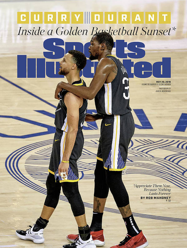 Magazine Cover Poster featuring the photograph Curry Durant Inside A Golden Basketball Sunset Sports Illustrated Cover by Sports Illustrated