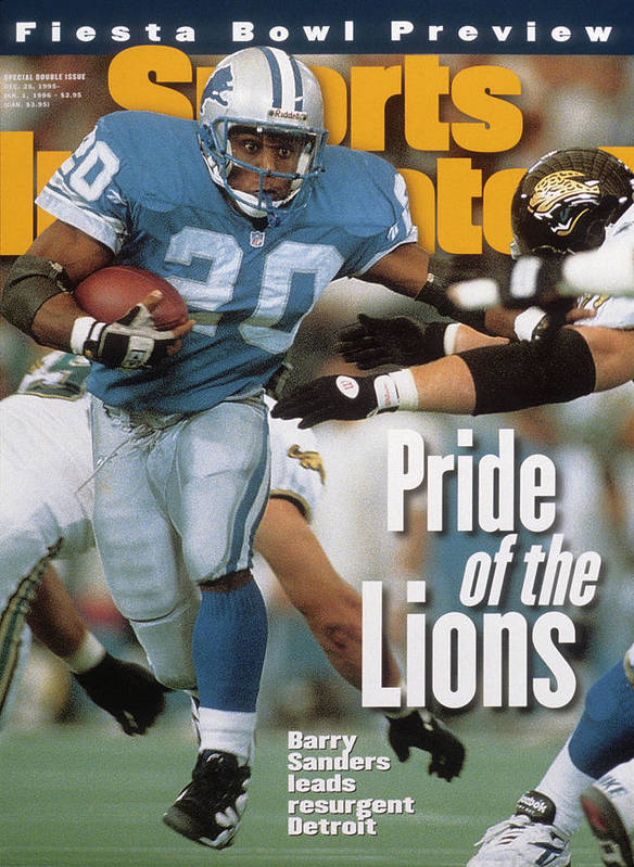 Magazine Cover Poster featuring the photograph Detroit Lions Barry Sanders... Sports Illustrated Cover by Sports Illustrated