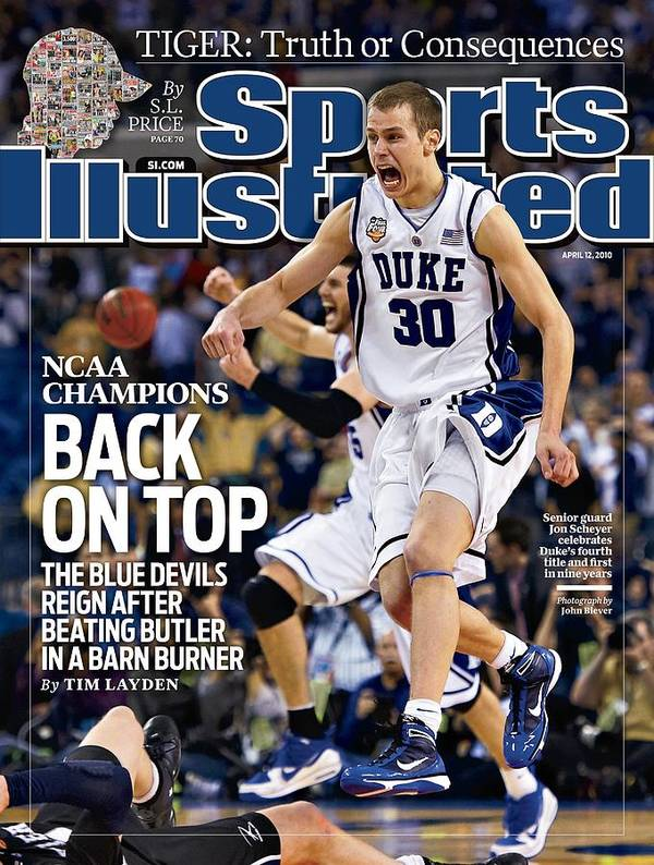 Magazine Cover Poster featuring the photograph Duke University Jon Scheyer, 2010 Ncaa National Championship Sports Illustrated Cover by Sports Illustrated