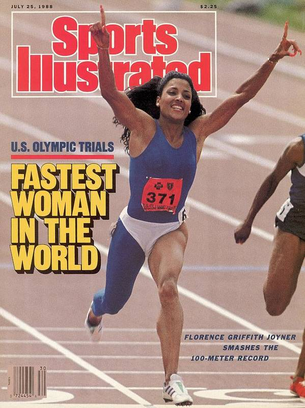 Magazine Cover Poster featuring the photograph Fastest Woman In The World Florence Griffith-joyner Smashes Sports Illustrated Cover by Sports Illustrated