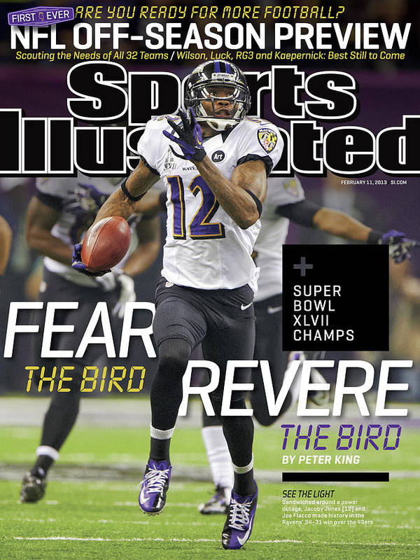 Magazine Cover Poster featuring the photograph Fear The Bird, Revere The Bird Super Bowl Xlvii Champs Sports Illustrated Cover by Sports Illustrated
