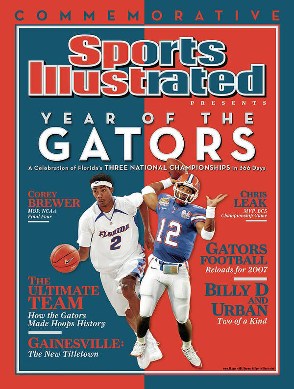 Magazine Cover Poster featuring the photograph Floridas Corey Brewer And Qb Chris Leak, Florida Gators Sports Illustrated Cover by Sports Illustrated