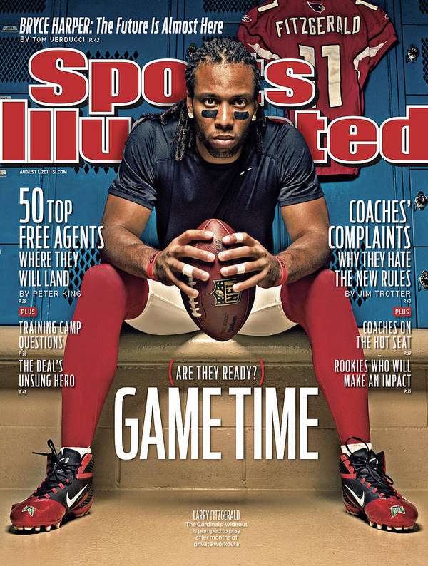 Larry Fitzgerald Poster featuring the photograph Gametime Are They Ready Sports Illustrated Cover by Sports Illustrated