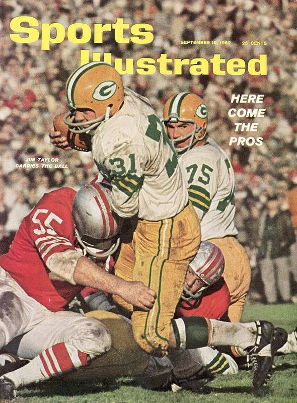 Magazine Cover Poster featuring the photograph Green Bay Packers Jim Taylor And Forrest Gregg Sports Illustrated Cover by Sports Illustrated