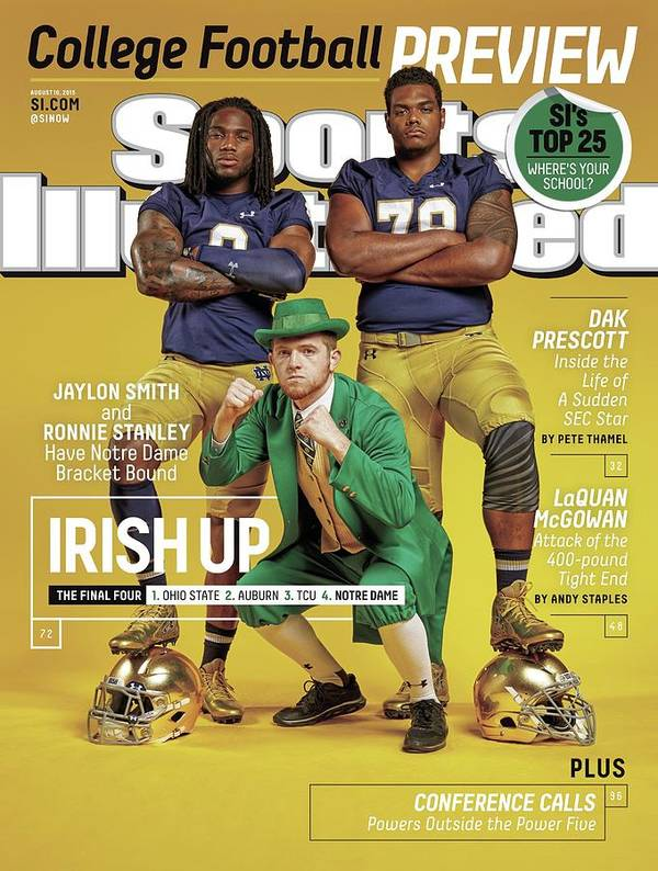 Magazine Cover Poster featuring the photograph Irish Up 2015 College Football Preview Issue Sports Illustrated Cover by Sports Illustrated