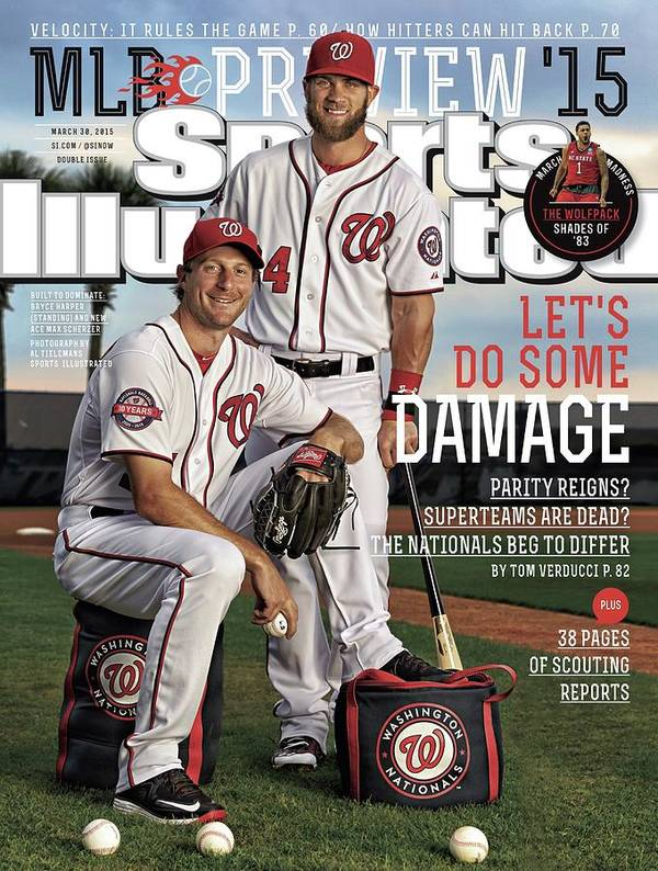 Magazine Cover Poster featuring the photograph Lets Do Some Damage 2015 Mlb Baseball Preview Issue Sports Illustrated Cover by Sports Illustrated