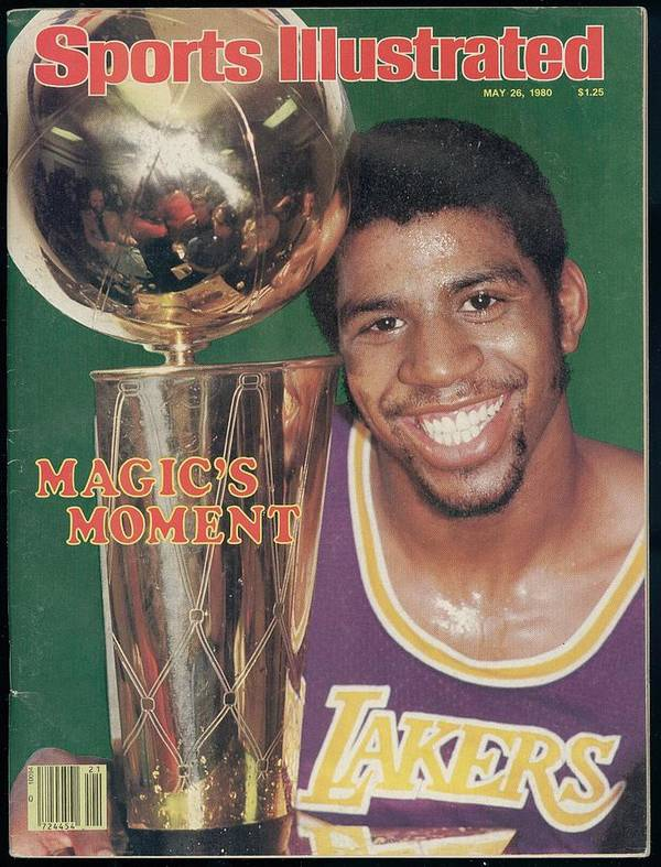 Magazine Cover Poster featuring the photograph Los Angeles Lakers Earvin Magic Johnson, 1980 Nba Finals Sports Illustrated Cover by Sports Illustrated