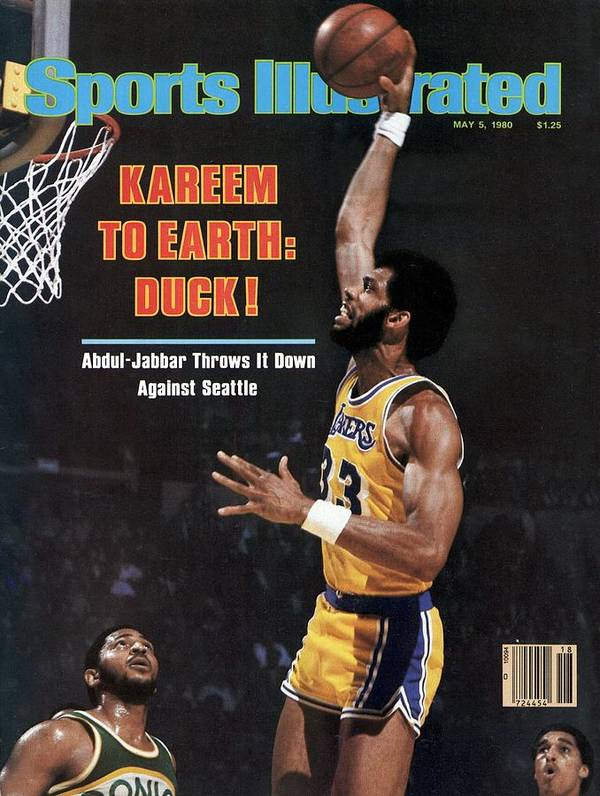 Magazine Cover Poster featuring the photograph Los Angeles Lakers Kareem Abdul-jabbar, 1980 Nba Western Sports Illustrated Cover by Sports Illustrated
