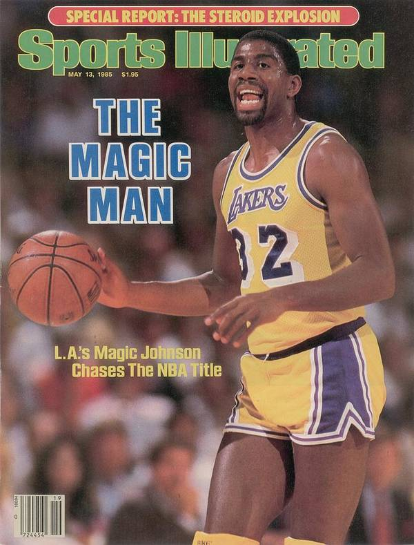 Playoffs Poster featuring the photograph Los Angeles Lakers Magic Johnson, 1985 Nba Western Sports Illustrated Cover by Sports Illustrated