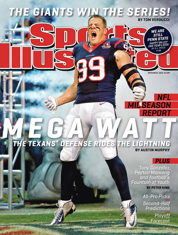 Magazine Cover Poster featuring the photograph Mega Watt The Texans Defense Rides The Lightning Sports Illustrated Cover by Sports Illustrated