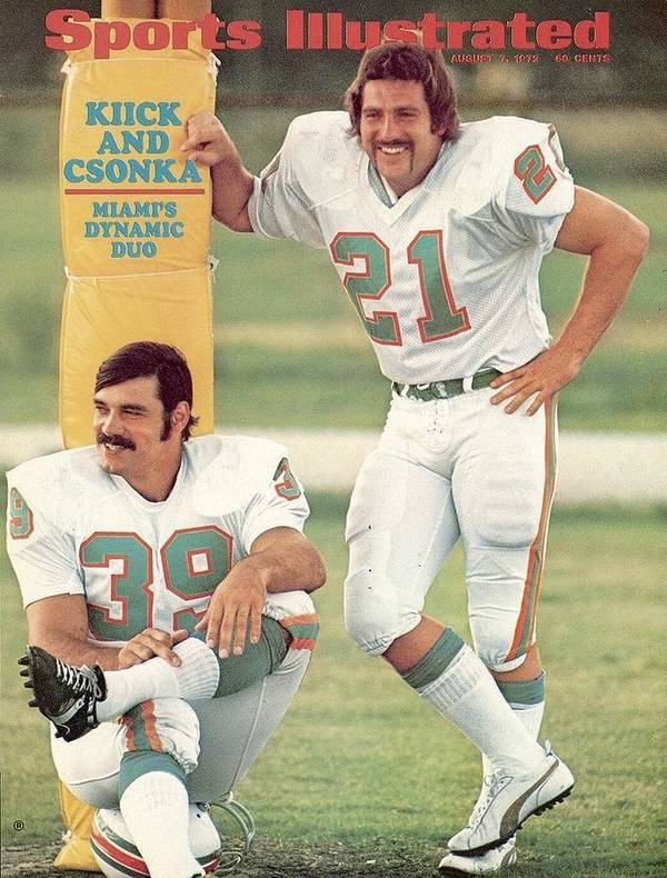 Sports Illustrated Poster featuring the photograph Miami Dolphins Jim Kiick And Larry Csonka Sports Illustrated Cover by Sports Illustrated