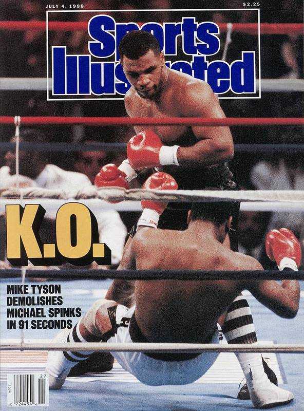 Magazine Cover Poster featuring the photograph Mike Tyson, 1988 Wbcwbaibf Heavyweight Title Sports Illustrated Cover by Sports Illustrated
