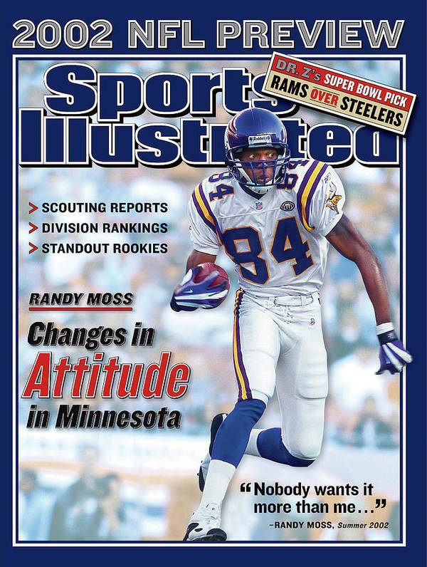 Magazine Cover Poster featuring the photograph Minnesota Vikings Randy Moss, 2002 Nfl Football Preview Sports Illustrated Cover by Sports Illustrated