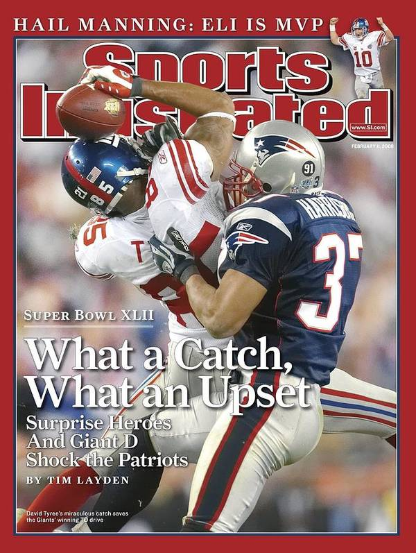 Magazine Cover Poster featuring the photograph New York Giants David Tyree, Super Bowl Xlii Sports Illustrated Cover by Sports Illustrated