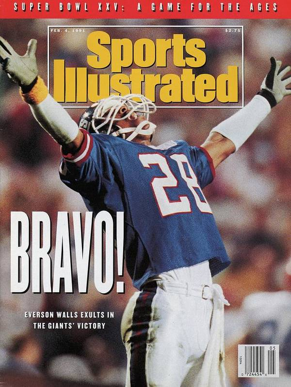 Magazine Cover Poster featuring the photograph New York Giants Everson Walls, Super Bowl Xxv Sports Illustrated Cover by Sports Illustrated