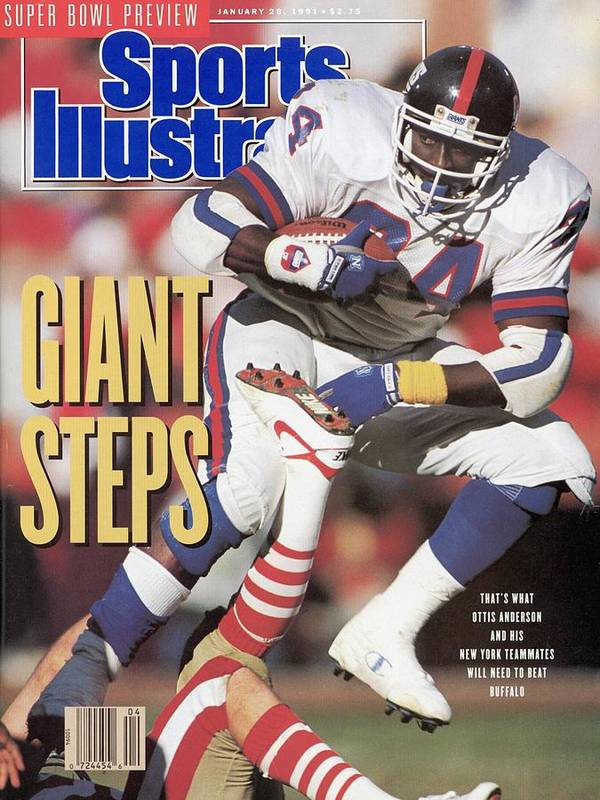 Candlestick Park Poster featuring the photograph New York Giants Ottis Anderson, 1991 Nfc Championship Sports Illustrated Cover by Sports Illustrated