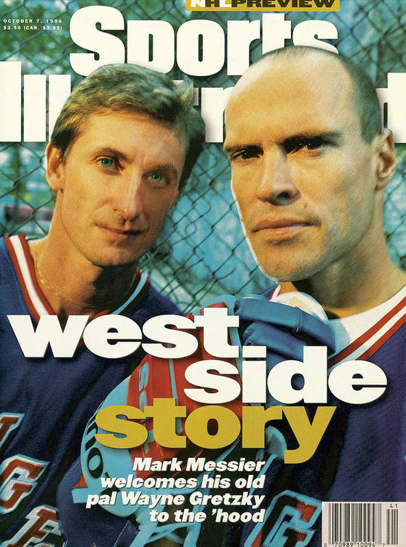 Magazine Cover Poster featuring the photograph New York Rangers Mark Messier And Wayne Gretzky Sports Illustrated Cover by Sports Illustrated
